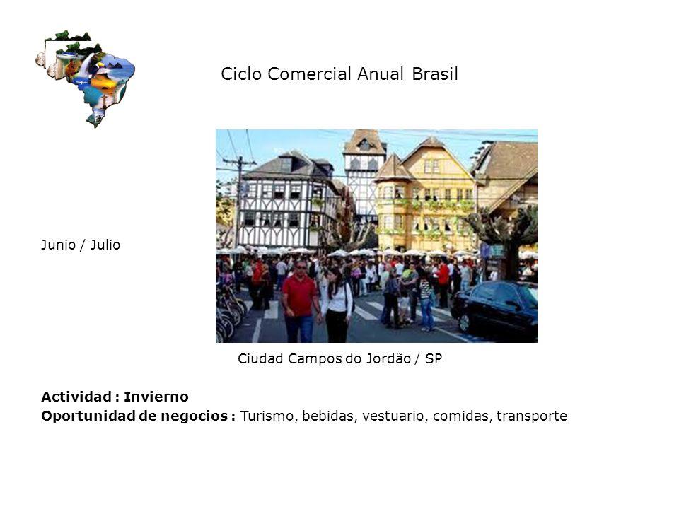 Ciclo Comercial Anual Brasil Junio / Julio Ciudad Campos do Jordão / SP Actividad : Invierno Oportunidad de negocios : Turismo, bebidas, vestuario, co