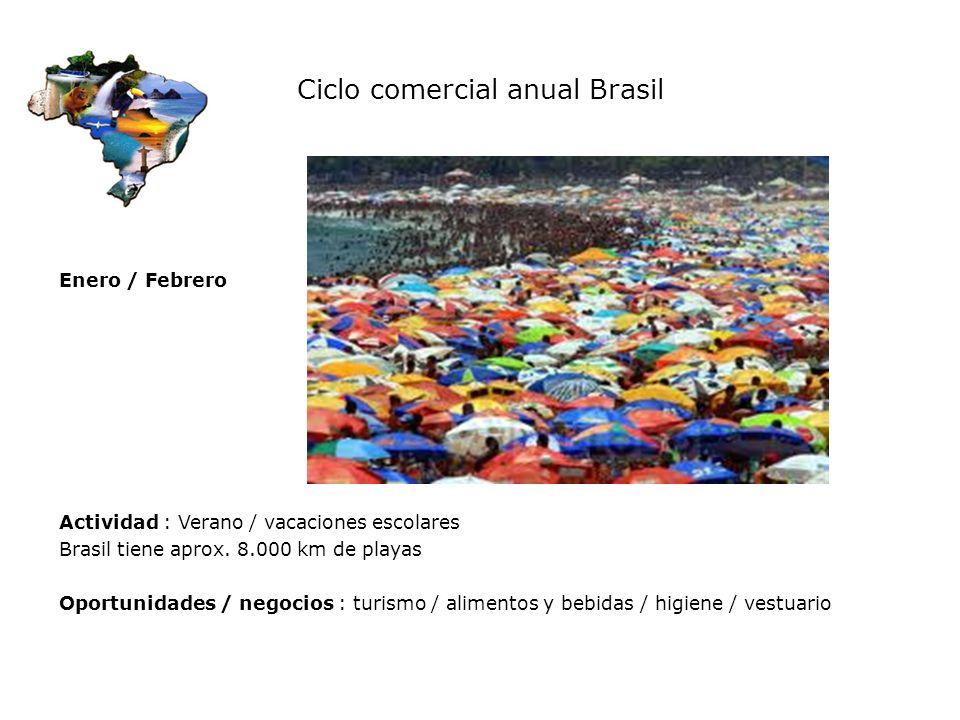 Ciclo comercial anual Brasil Enero / Febrero Actividad : Verano / vacaciones escolares Brasil tiene aprox. 8.000 km de playas Oportunidades / negocios