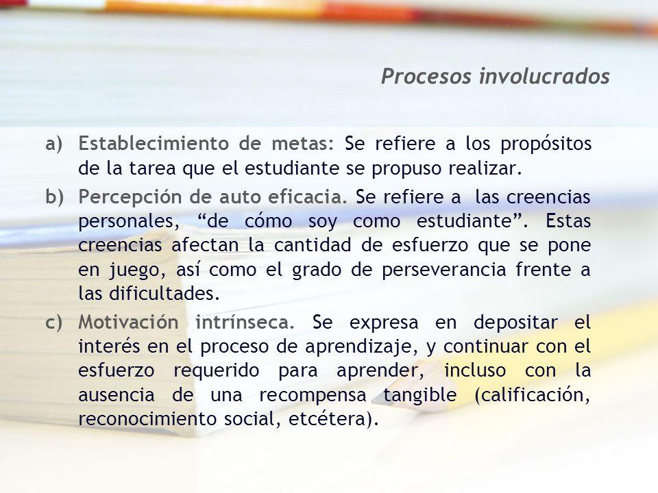 a)Establecimiento de metas: Se refiere a los propósitos de la tarea que el estudiante se propuso realizar. b)Percepción de auto eficacia. Se refiere a
