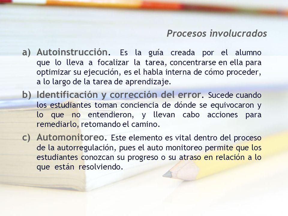 a)Autoinstrucción. Es la guía creada por el alumno que lo lleva a focalizar la tarea, concentrarse en ella para optimizar su ejecución, es el habla in