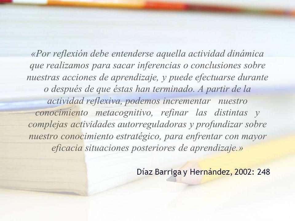 «Por reflexión debe entenderse aquella actividad dinámica que realizamos para sacar inferencias o conclusiones sobre nuestras acciones de aprendizaje,