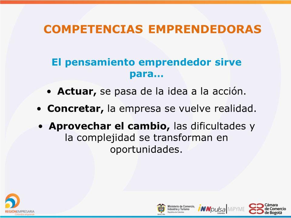COMPETENCIAS EMPRENDEDORAS El pensamiento emprendedor sirve para… Actuar, se pasa de la idea a la acción.