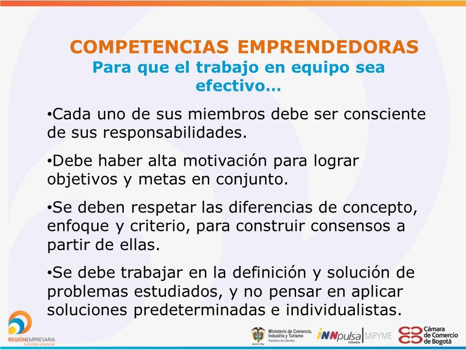 COMPETENCIAS EMPRENDEDORAS Para que el trabajo en equipo sea efectivo… Cada uno de sus miembros debe ser consciente de sus responsabilidades.