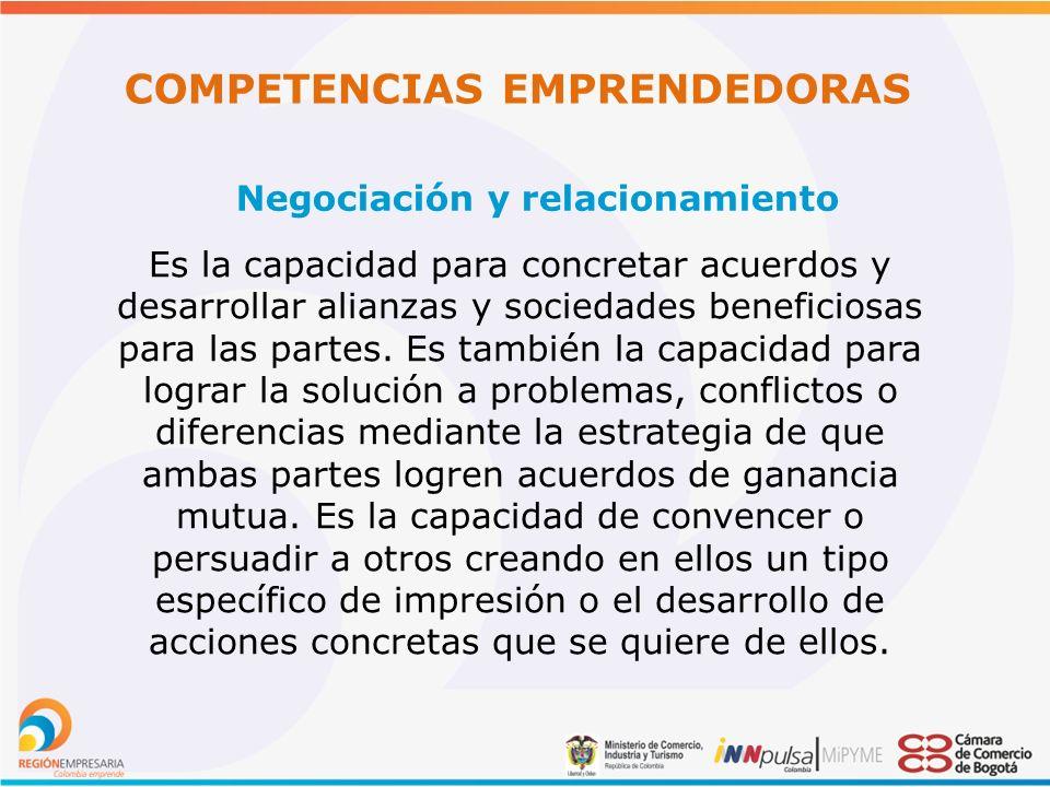 COMPETENCIAS EMPRENDEDORAS Negociación y relacionamiento Es la capacidad para concretar acuerdos y desarrollar alianzas y sociedades beneficiosas para las partes.