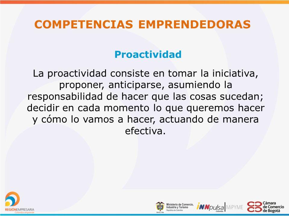 COMPETENCIAS EMPRENDEDORAS Proactividad La proactividad consiste en tomar la iniciativa, proponer, anticiparse, asumiendo la responsabilidad de hacer que las cosas sucedan; decidir en cada momento lo que queremos hacer y cómo lo vamos a hacer, actuando de manera efectiva.