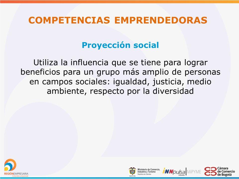 COMPETENCIAS EMPRENDEDORAS Proyección social Utiliza la influencia que se tiene para lograr beneficios para un grupo más amplio de personas en campos sociales: igualdad, justicia, medio ambiente, respecto por la diversidad