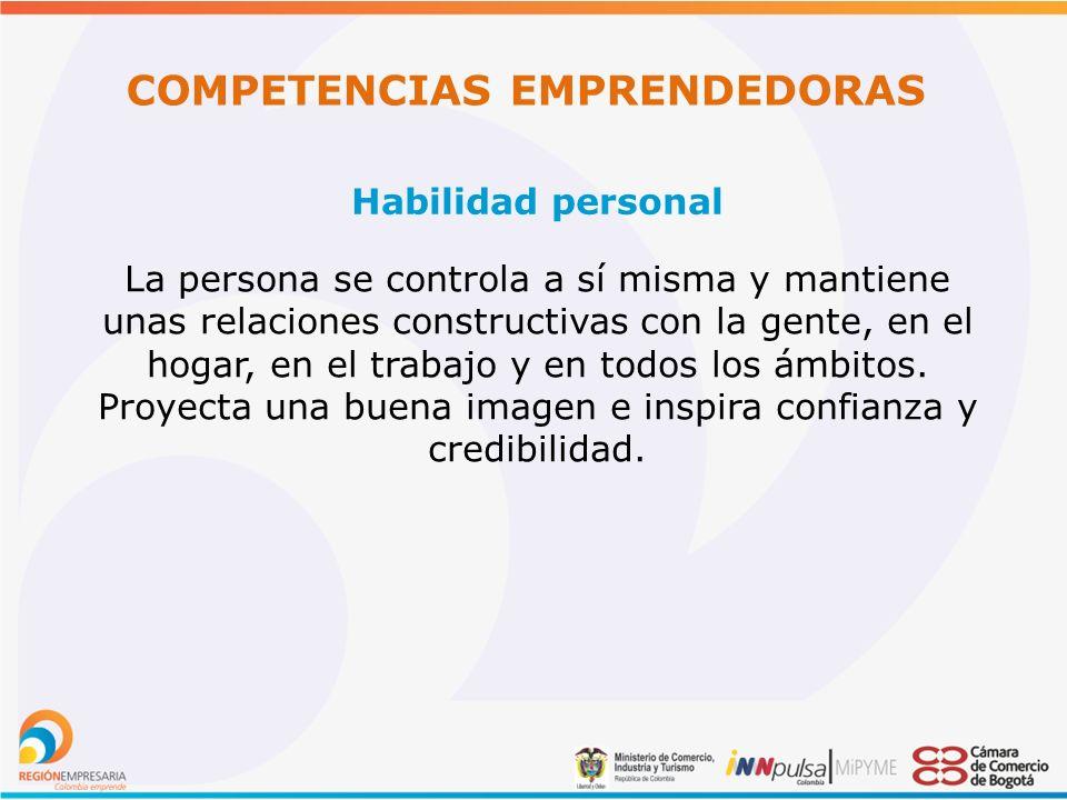 COMPETENCIAS EMPRENDEDORAS Habilidad personal La persona se controla a sí misma y mantiene unas relaciones constructivas con la gente, en el hogar, en el trabajo y en todos los ámbitos.