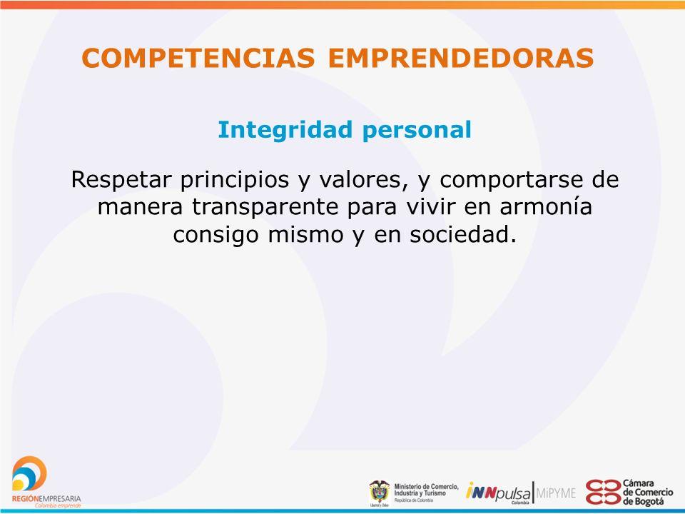 COMPETENCIAS EMPRENDEDORAS Integridad personal Respetar principios y valores, y comportarse de manera transparente para vivir en armonía consigo mismo y en sociedad.