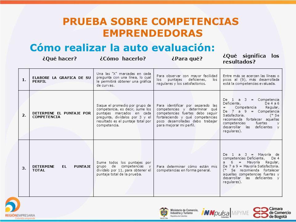 PRUEBA SOBRE COMPETENCIAS EMPRENDEDORAS Cómo realizar la auto evaluación: ¿Qué hacer.