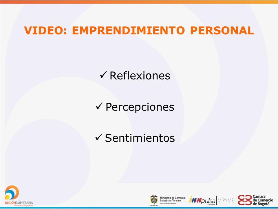 VIDEO: EMPRENDIMIENTO PERSONAL Reflexiones Percepciones Sentimientos