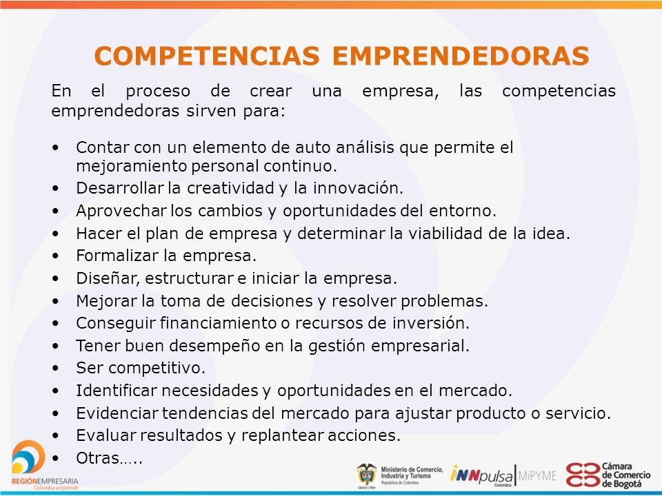 COMPETENCIAS EMPRENDEDORAS En el proceso de crear una empresa, las competencias emprendedoras sirven para: Contar con un elemento de auto análisis que permite el mejoramiento personal continuo.