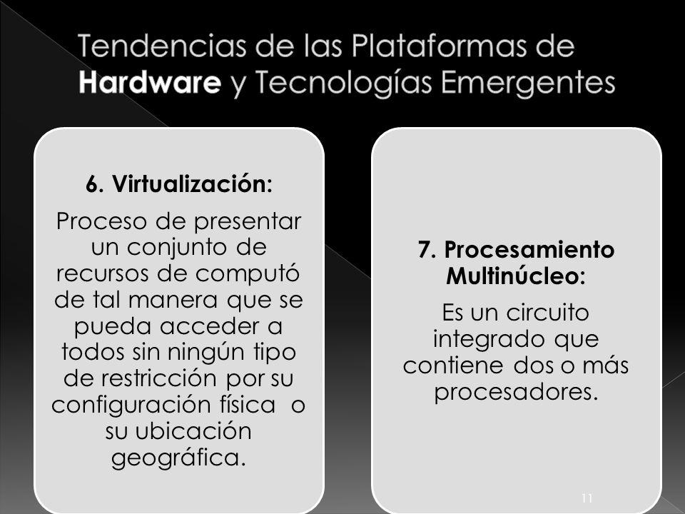 6. Virtualización: Proceso de presentar un conjunto de recursos de computó de tal manera que se pueda acceder a todos sin ningún tipo de restricción p