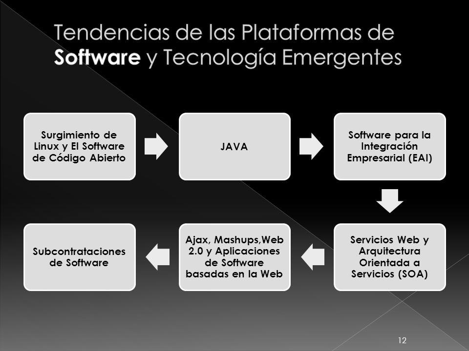 Surgimiento de Linux y El Software de Código Abierto JAVA Software para la Integración Empresarial (EAI) Servicios Web y Arquitectura Orientada a Serv