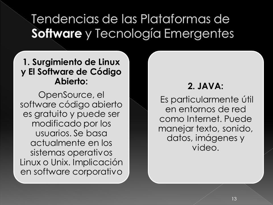 1. Surgimiento de Linux y El Software de Código Abierto: OpenSource, el software código abierto es gratuito y puede ser modificado por los usuarios. S