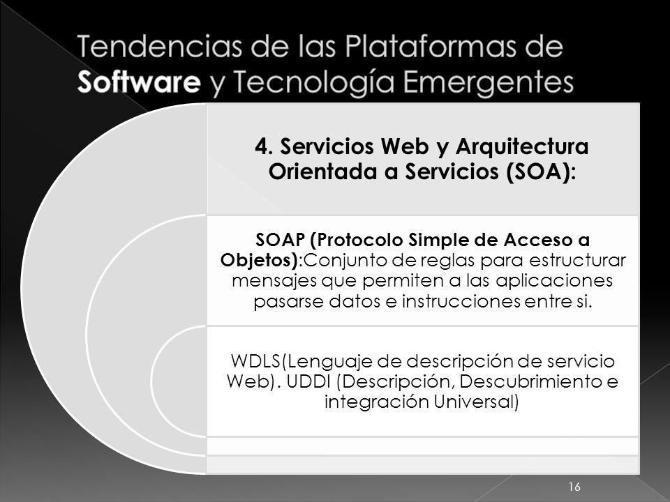 4. Servicios Web y Arquitectura Orientada a Servicios (SOA): SOAP (Protocolo Simple de Acceso a Objetos) :Conjunto de reglas para estructurar mensajes