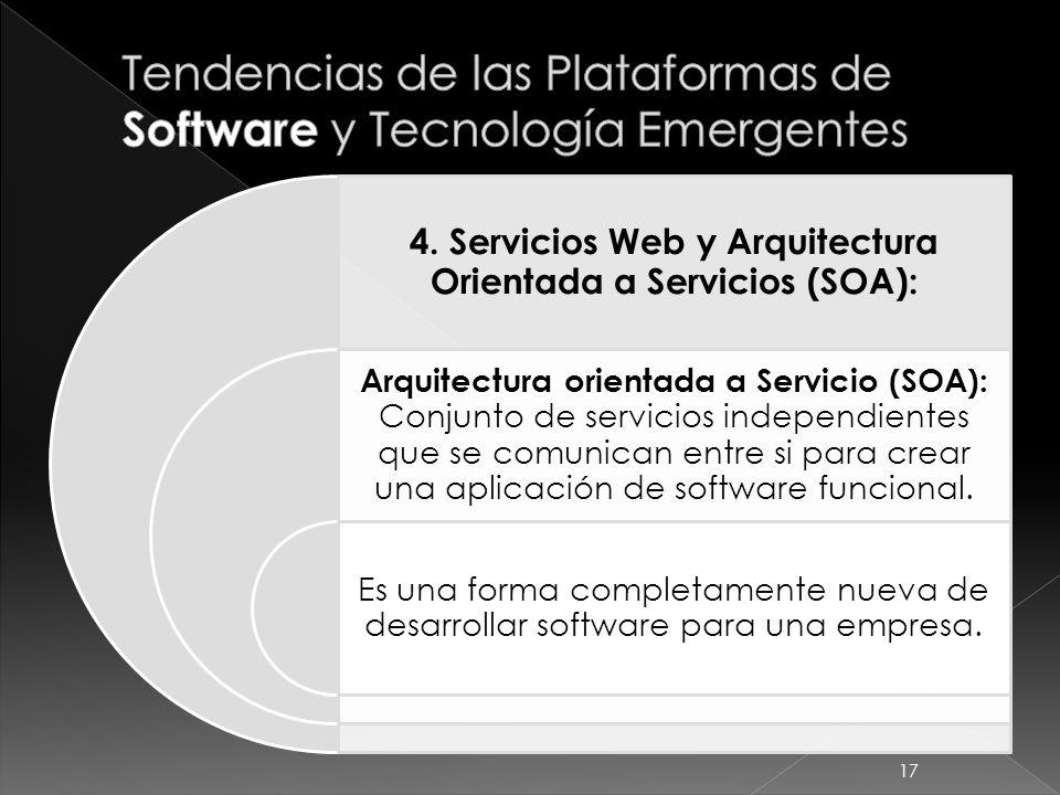 4. Servicios Web y Arquitectura Orientada a Servicios (SOA): Arquitectura orientada a Servicio (SOA): Conjunto de servicios independientes que se comu
