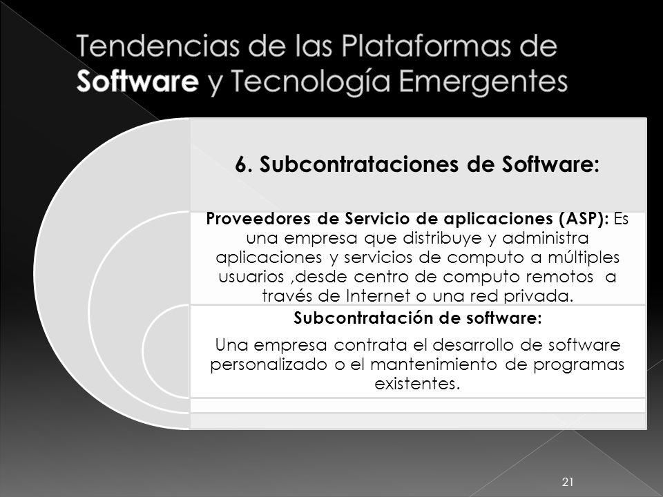 6. Subcontrataciones de Software: Proveedores de Servicio de aplicaciones (ASP): Es una empresa que distribuye y administra aplicaciones y servicios d