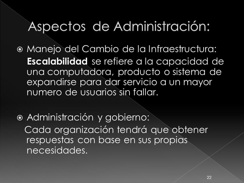 Manejo del Cambio de la Infraestructura: Escalabilidad se refiere a la capacidad de una computadora, producto o sistema de expandirse para dar servici
