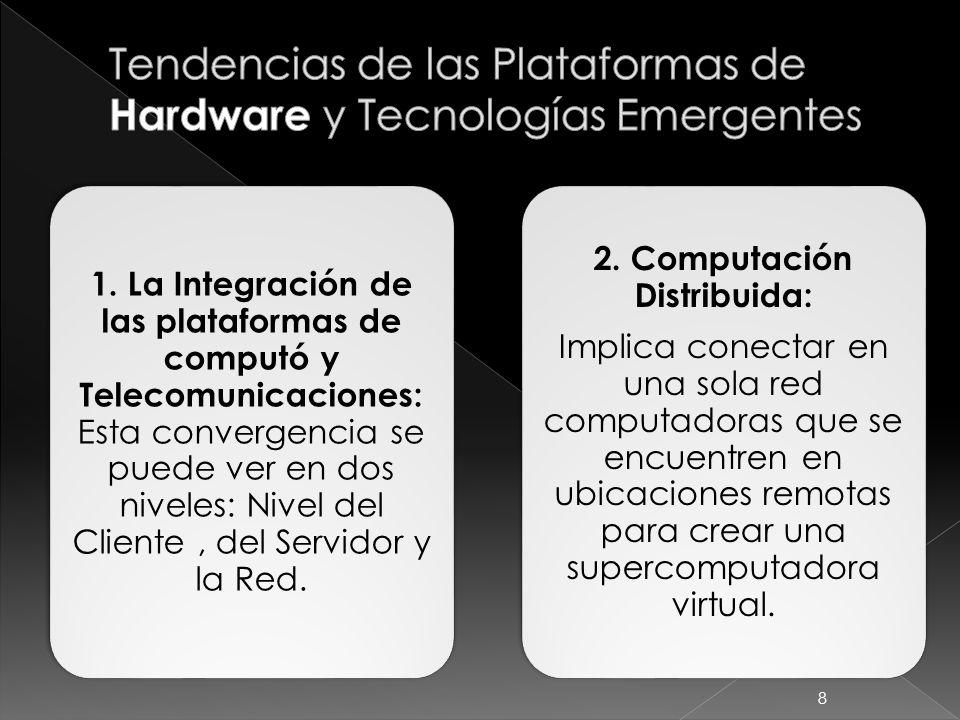 1. La Integración de las plataformas de computó y Telecomunicaciones: Esta convergencia se puede ver en dos niveles: Nivel del Cliente, del Servidor y