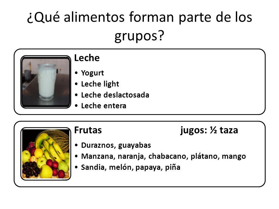 ¿Qué alimentos forman parte de los grupos.