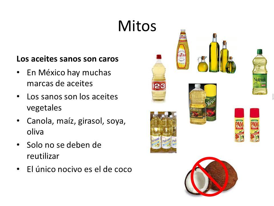 Mitos Los aceites sanos son caros En México hay muchas marcas de aceites Los sanos son los aceites vegetales Canola, maíz, girasol, soya, oliva Solo no se deben de reutilizar El único nocivo es el de coco