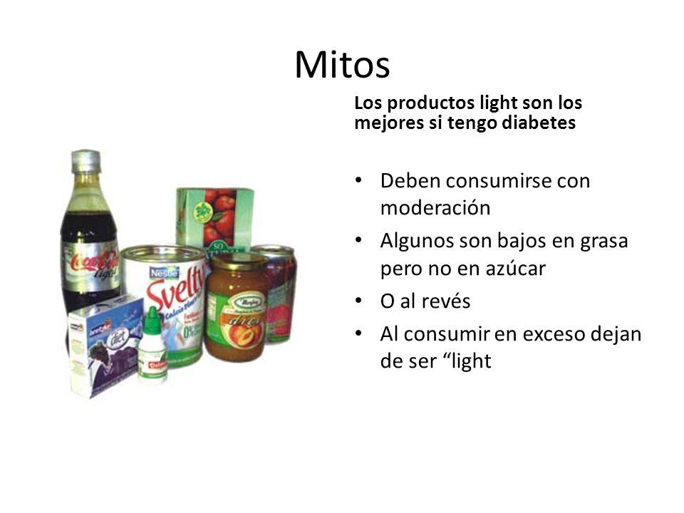 Mitos Los productos light son los mejores si tengo diabetes Deben consumirse con moderación Algunos son bajos en grasa pero no en azúcar O al revés Al consumir en exceso dejan de ser light