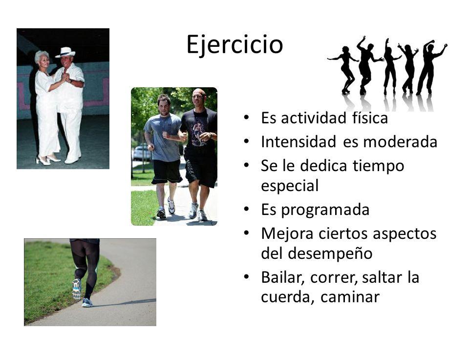 Ejercicio Es actividad física Intensidad es moderada Se le dedica tiempo especial Es programada Mejora ciertos aspectos del desempeño Bailar, correr, saltar la cuerda, caminar