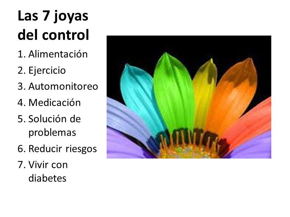 Las 7 joyas del control 1.Alimentación 2.Ejercicio 3.Automonitoreo 4.Medicación 5.Solución de problemas 6.Reducir riesgos 7.Vivir con diabetes
