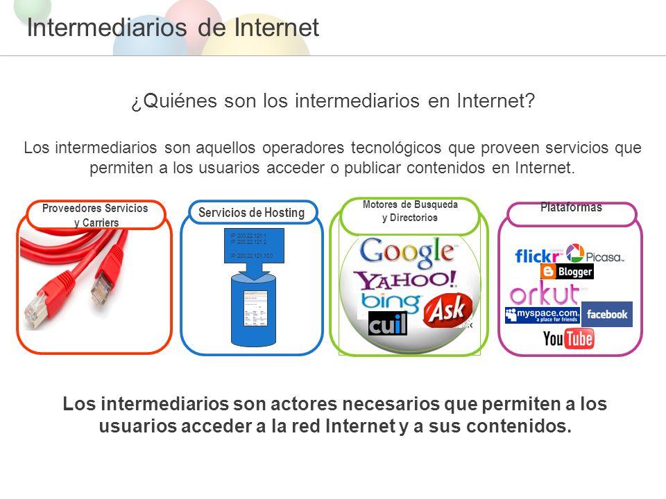 Intermediarios de Internet ¿Quiénes son los intermediarios en Internet.