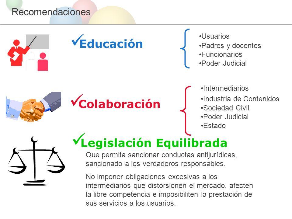 Recomendaciones Legislación Equilibrada Que permita sancionar conductas antijurídicas, sancionado a los verdaderos responsables.