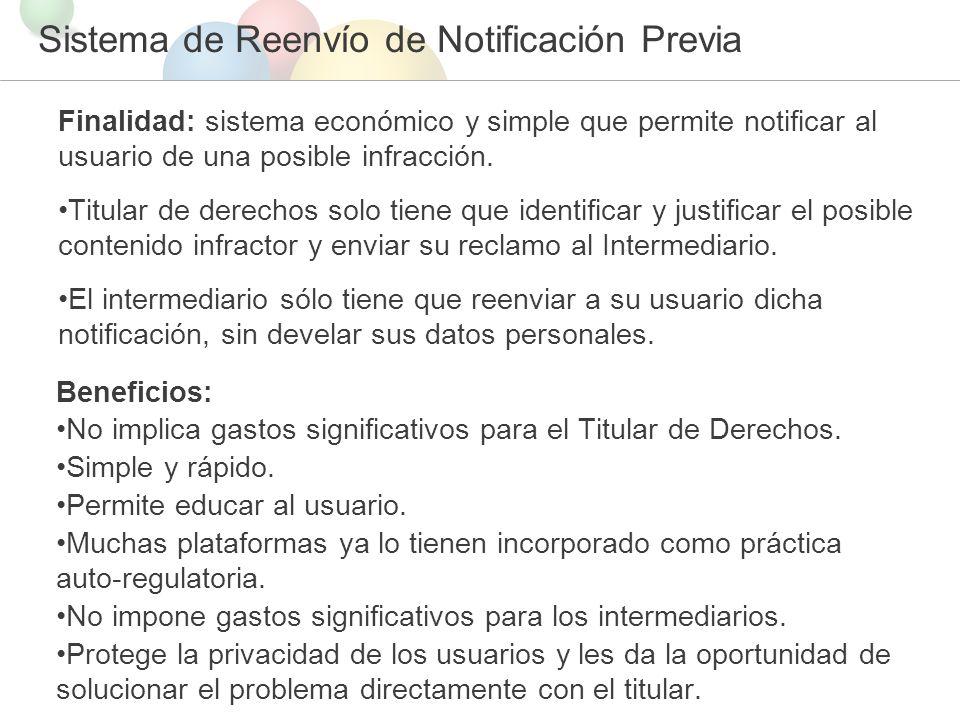 Sistema de Reenvío de Notificación Previa Finalidad: sistema económico y simple que permite notificar al usuario de una posible infracción.