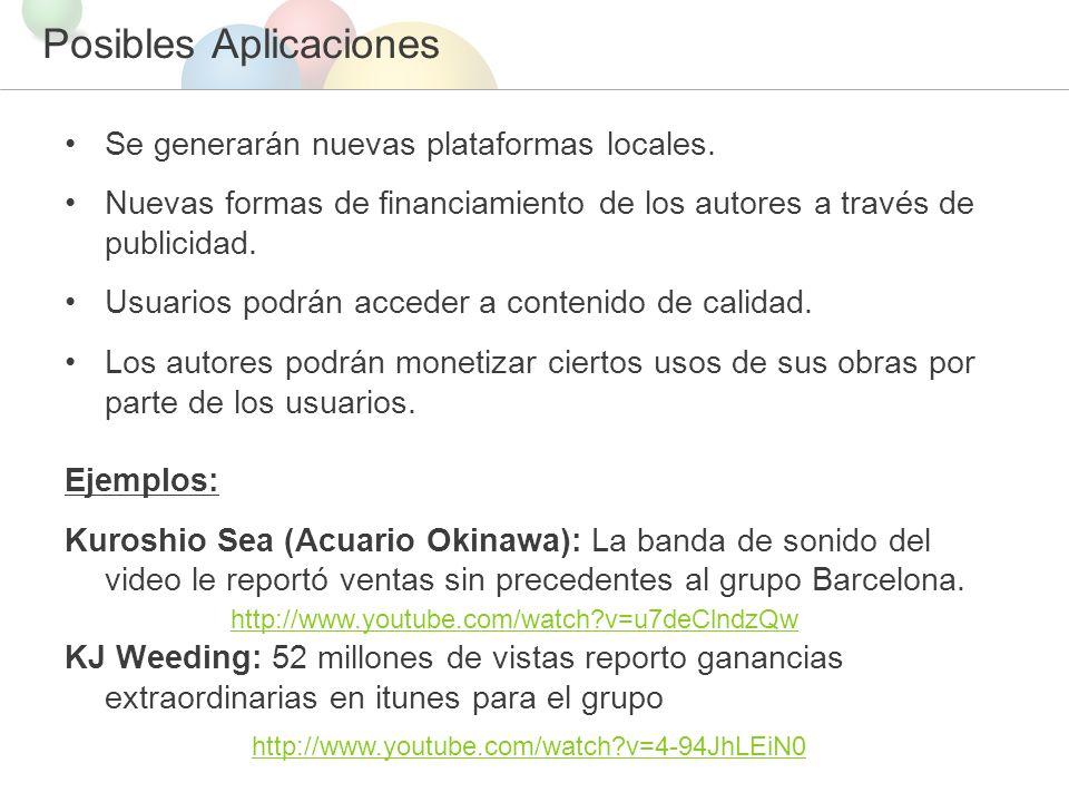 Posibles Aplicaciones Se generarán nuevas plataformas locales.