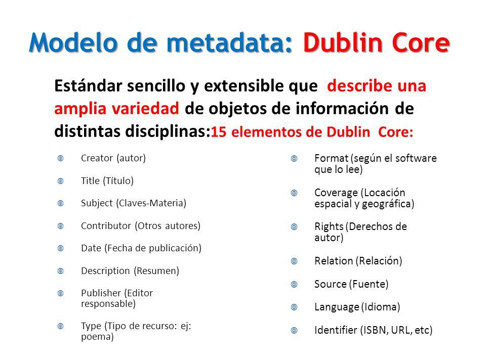 Modelo de metadata: Dublin Core Estándar sencillo y extensible que describe una amplia variedad de objetos de información de distintas disciplinas: 15