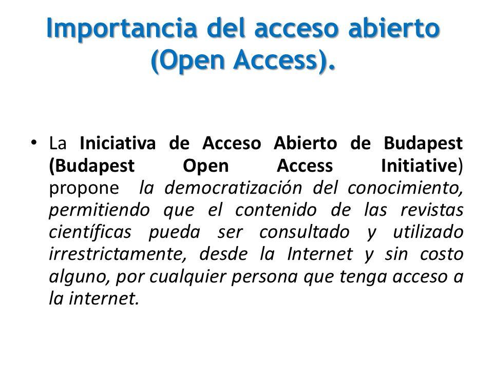 La Iniciativa de Acceso Abierto de Budapest (Budapest Open Access Initiative) propone la democratización del conocimiento, permitiendo que el contenid