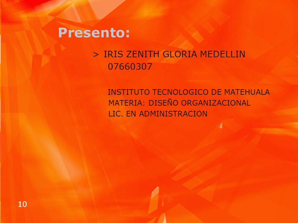 10 Presento: >IRIS ZENITH GLORIA MEDELLIN 07660307 INSTITUTO TECNOLOGICO DE MATEHUALA MATERIA: DISEÑO ORGANIZACIONAL LIC. EN ADMINISTRACION
