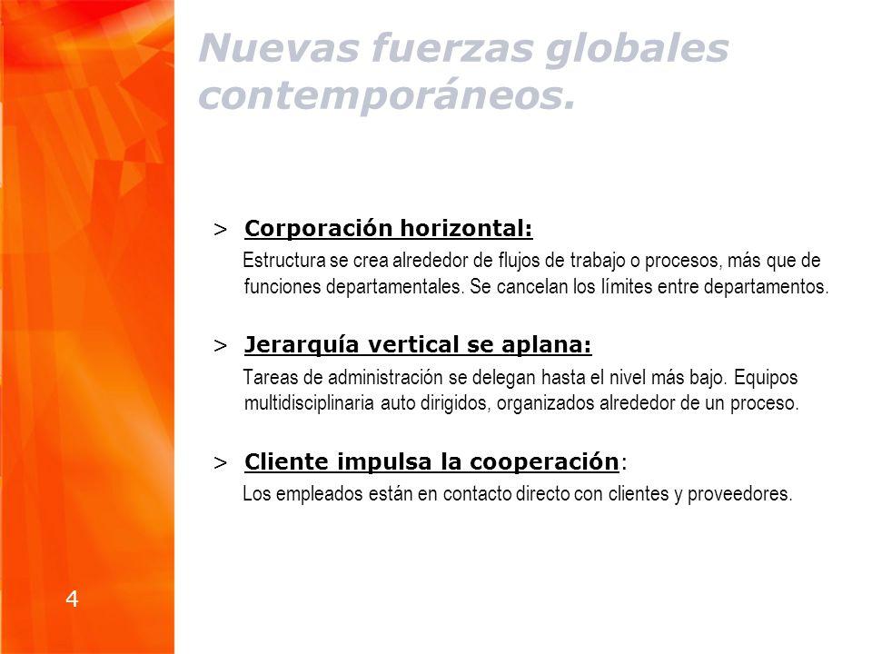 Nuevas fuerzas globales contemporáneos. >Corporación horizontal: Estructura se crea alrededor de flujos de trabajo o procesos, más que de funciones de
