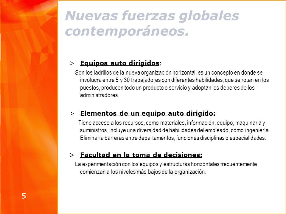 5 Nuevas fuerzas globales contemporáneos. >Equipos auto dirigidos: Son los ladrillos de la nueva organización horizontal, es un concepto en donde se i
