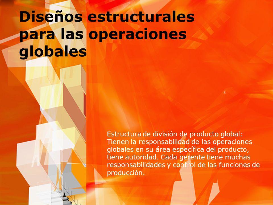Diseños estructurales para las operaciones globales Estructura de división de producto global: Tienen la responsabilidad de las operaciones globales e