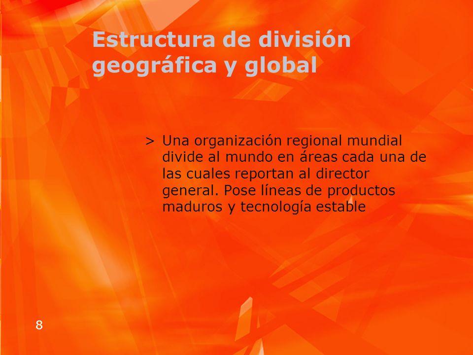8 Estructura de división geográfica y global >Una organización regional mundial divide al mundo en áreas cada una de las cuales reportan al director g