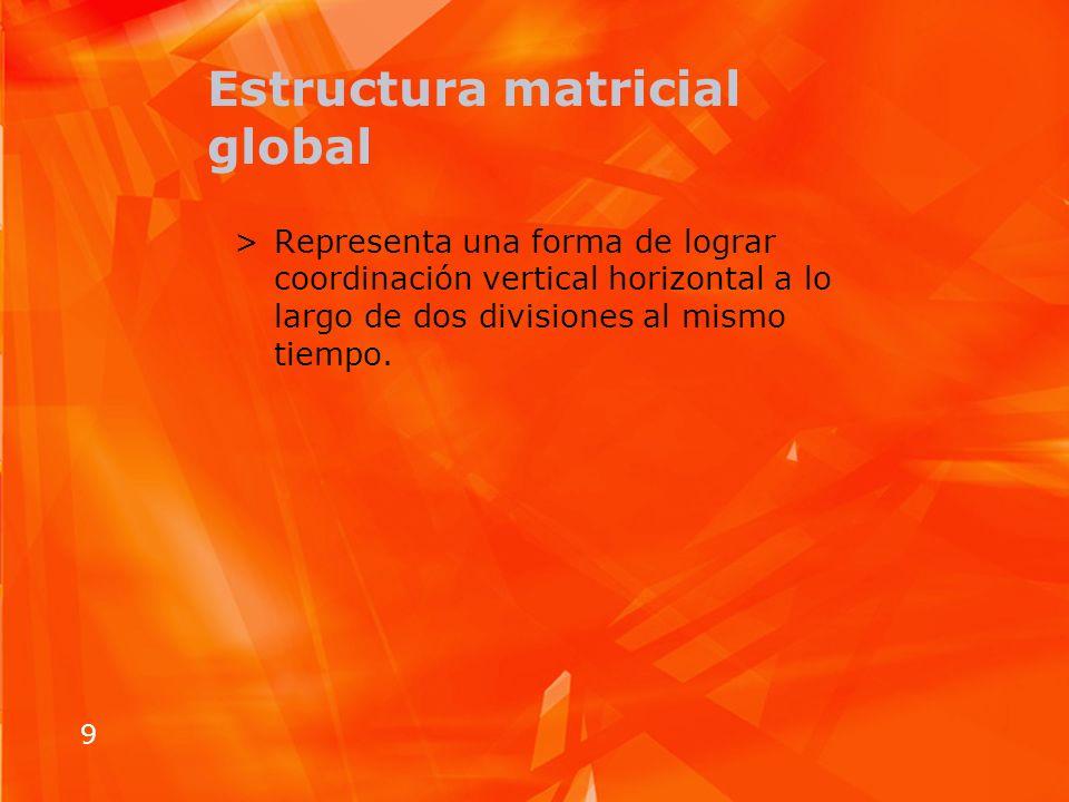 9 Estructura matricial global >Representa una forma de lograr coordinación vertical horizontal a lo largo de dos divisiones al mismo tiempo.