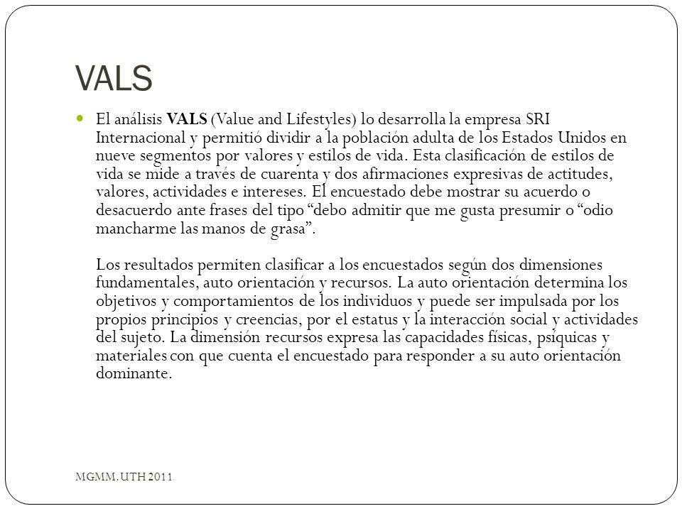 VALS MGMM.UTH 2011 El análisis VALS (Value and Lifestyles) lo desarrolla la empresa SRI Internacional y permitió dividir a la población adulta de los