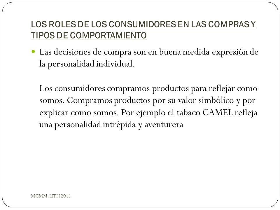 LOS ROLES DE LOS CONSUMIDORES EN LAS COMPRAS Y TIPOS DE COMPORTAMIENTO MGMM.UTH 2011 Las decisiones de compra son en buena medida expresión de la pers