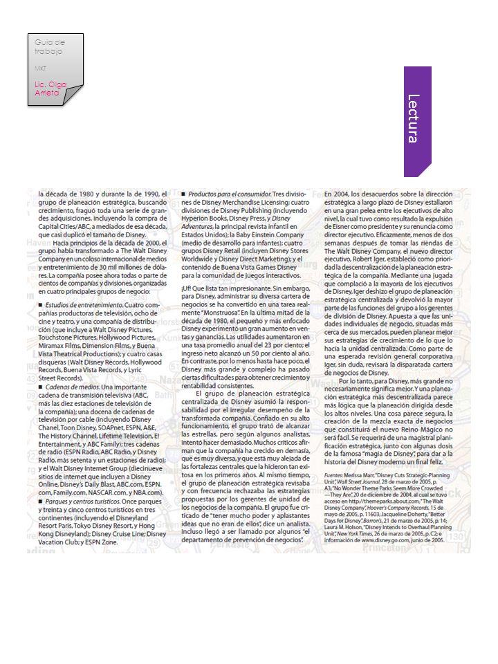 Lectura Guia de trabajo MKT Lic. Olga Arrieta Guia de trabajo MKT Lic. Olga Arrieta