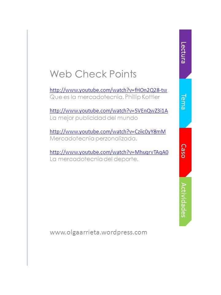 Actividades Caso Tema Lectura Web Check Points http://www.youtube.com/watch?v=fHOn2Q28-tw Que es la mercadotecnia.