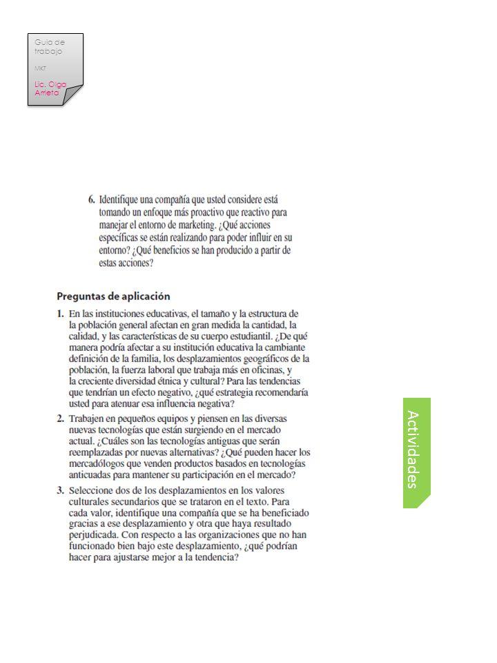 Actividades Guia de trabajo MKT Lic. Olga Arrieta Guia de trabajo MKT Lic. Olga Arrieta
