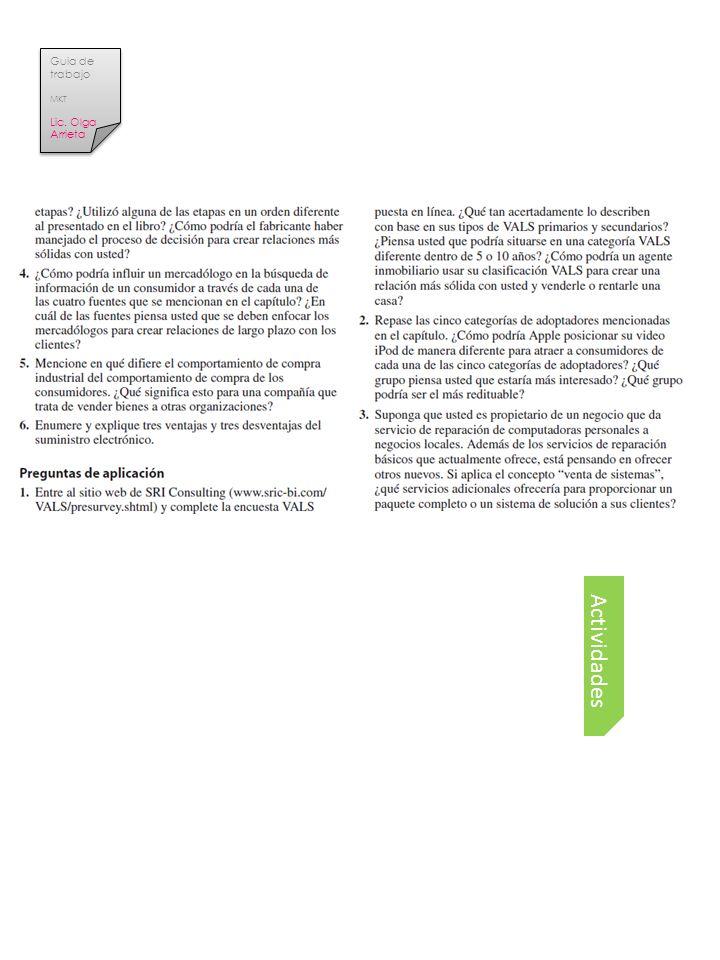 Actividades Tema Guia de trabajo MKT Lic. Olga Arrieta Guia de trabajo MKT Lic. Olga Arrieta