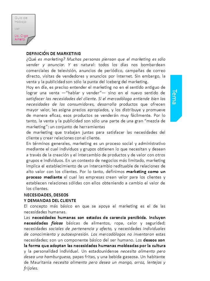Tema DEFINICIÓN DE MARKETING ¿Qué es marketing.