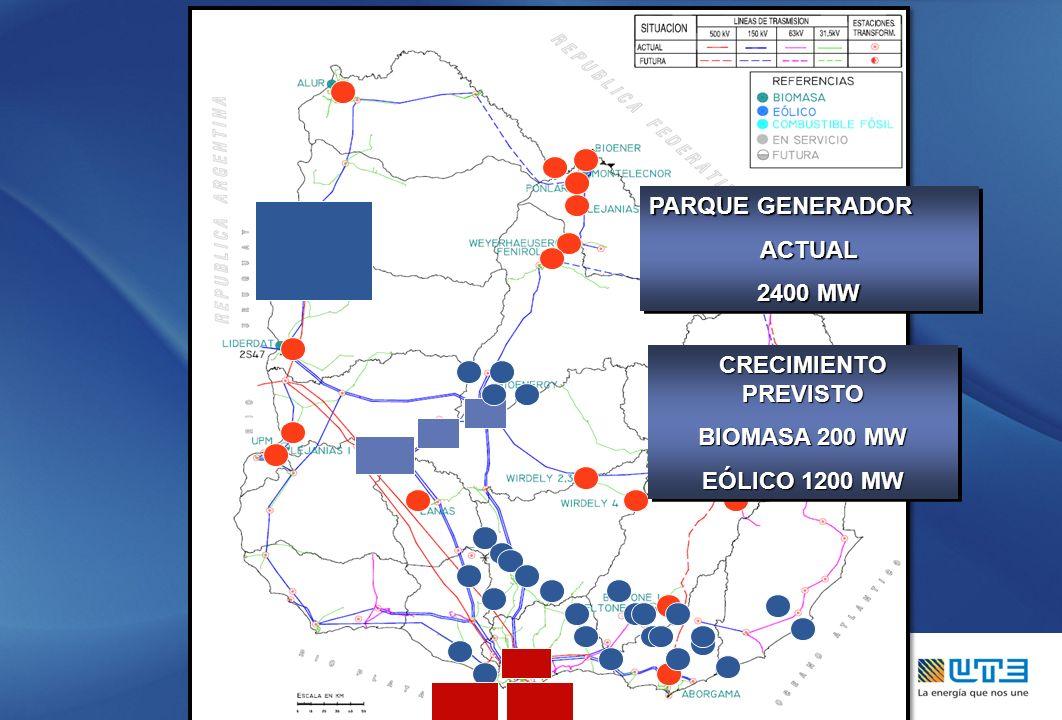 PARQUE GENERADOR ACTUAL 2400 MW PARQUE GENERADOR ACTUAL 2400 MW CRECIMIENTO PREVISTO BIOMASA 200 MW EÓLICO 1200 MW CRECIMIENTO PREVISTO BIOMASA 200 MW