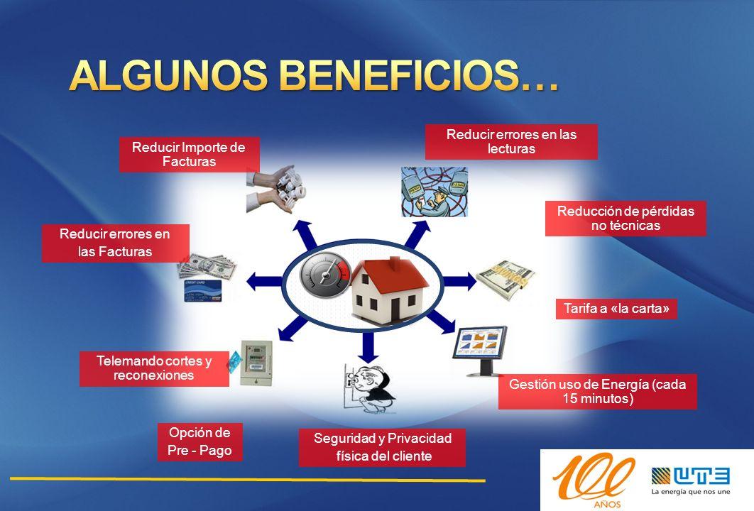 Reducir Importe de Facturas Reducir errores en las Facturas Opción de Pre - Pago Seguridad y Privacidad física del cliente Gestión uso de Energía (cad