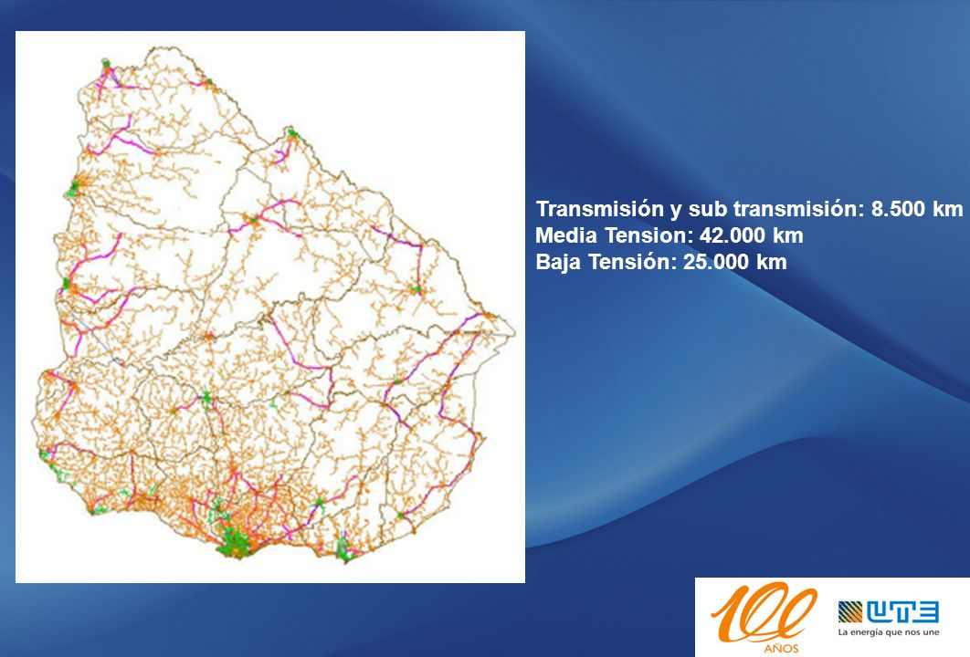 Infraestructura eléctrica Infraestructura TIC (Tecnología de Información y Comunicaciones) Grandes Clientes y Mi: 35% energía facturada TRASMISIÓN: 100% Estaciones DISTRIBUCIÓN: 66% Estaciones (270) 78% Clientes 350 puntos intermedios de Red MT (15%)